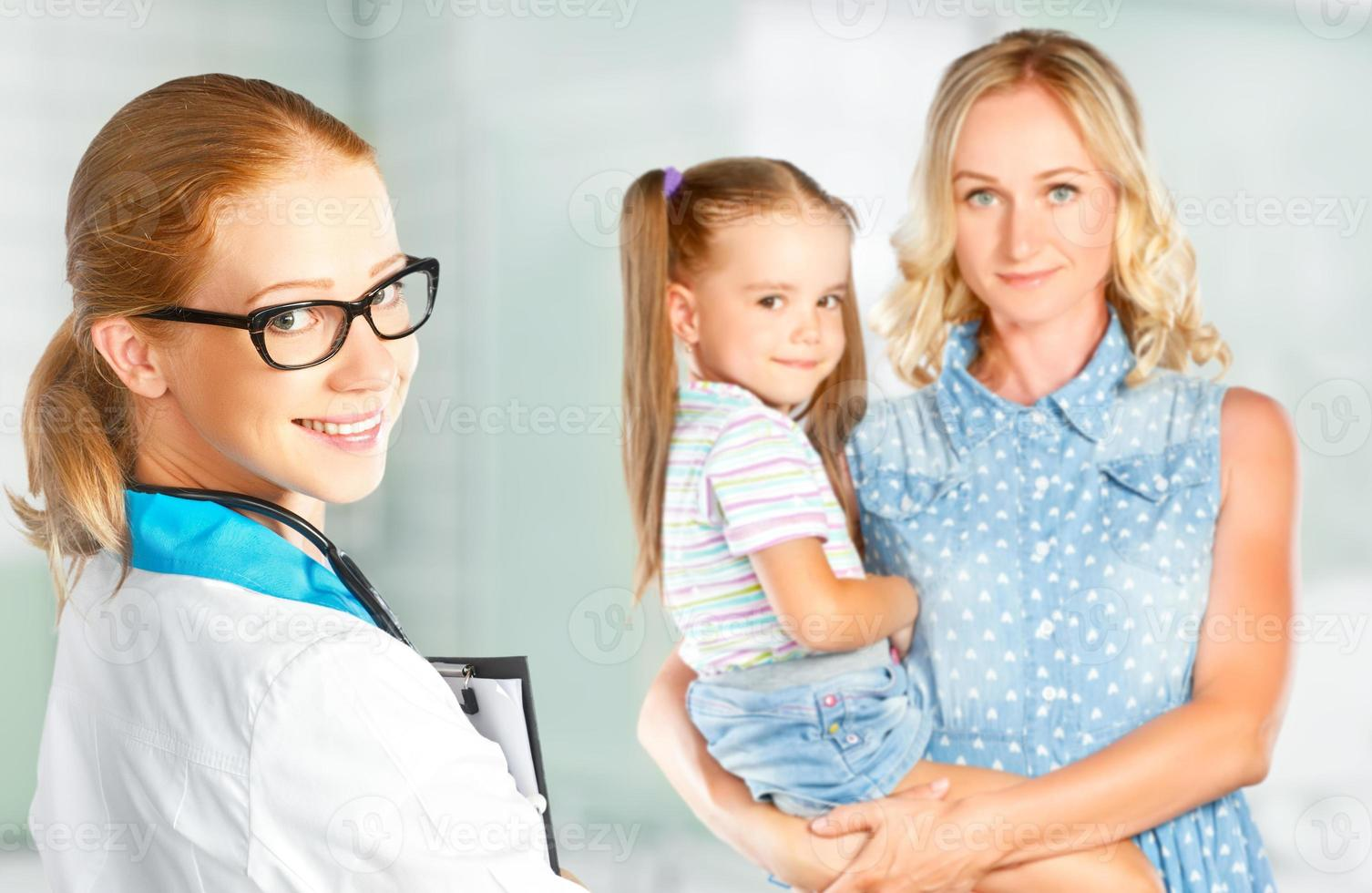 visit mother and child to doctor pediatrician photo