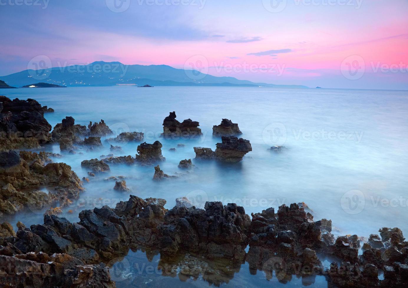 puesta de sol del mar foto