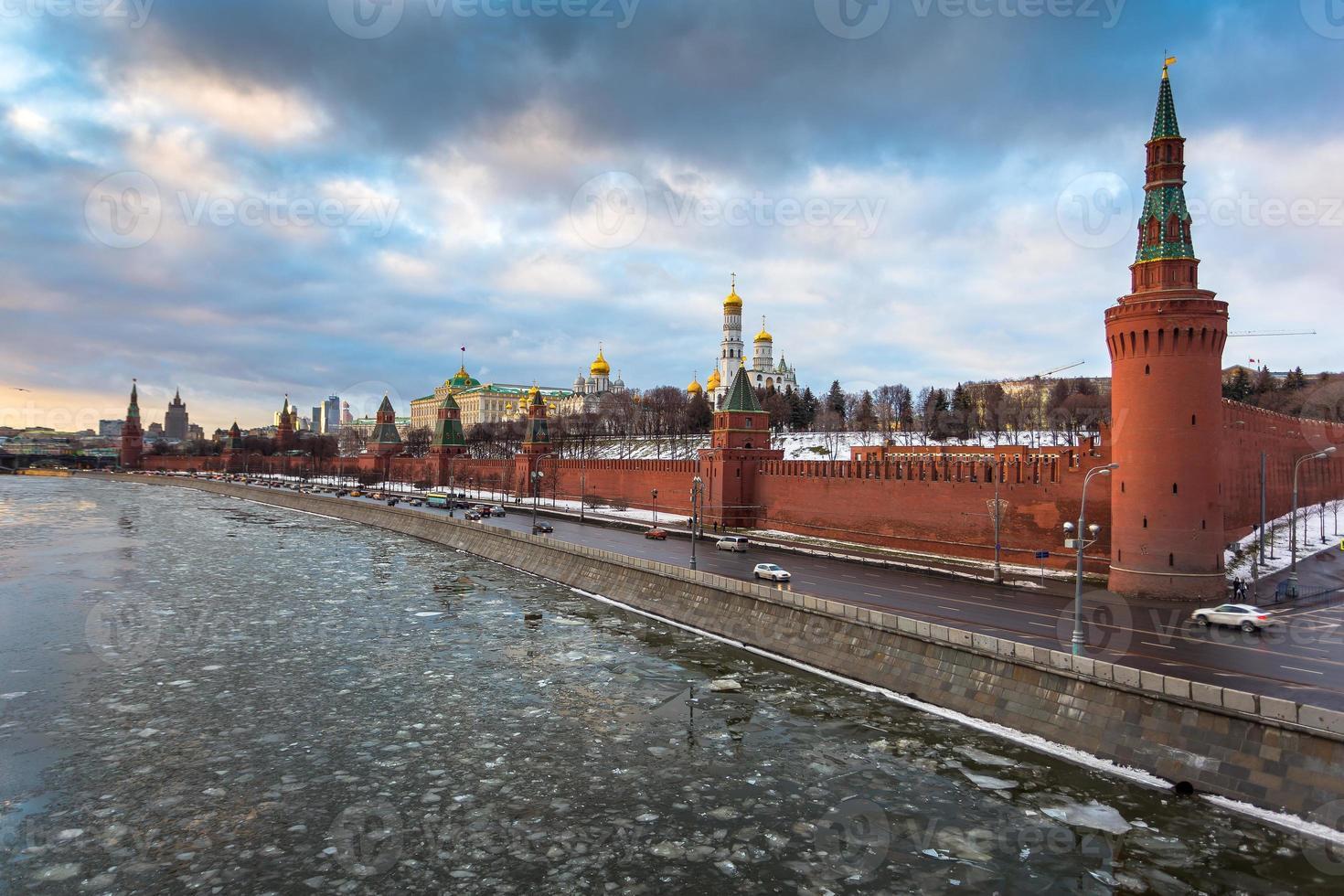 Moscow river and Kremlin embankment at winter photo