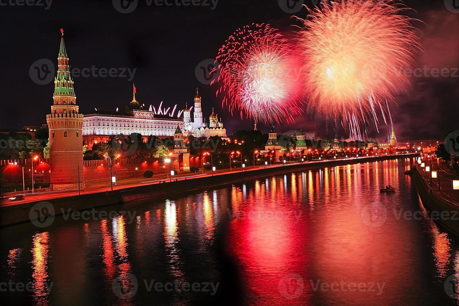 Fireworks over Kremlin in the night photo