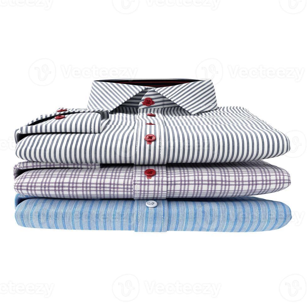 pila de camisas clásicas para hombres, vista frontal foto
