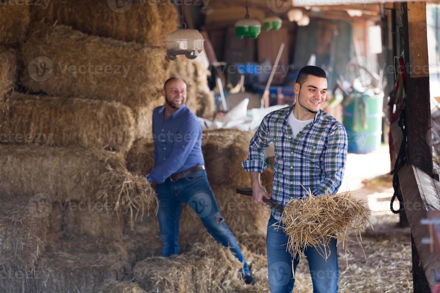 dos granjeros trabajando en granero foto