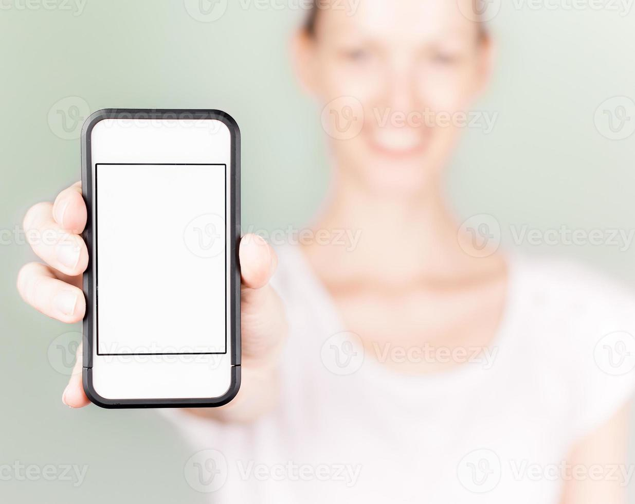 female with blank smart phone photo