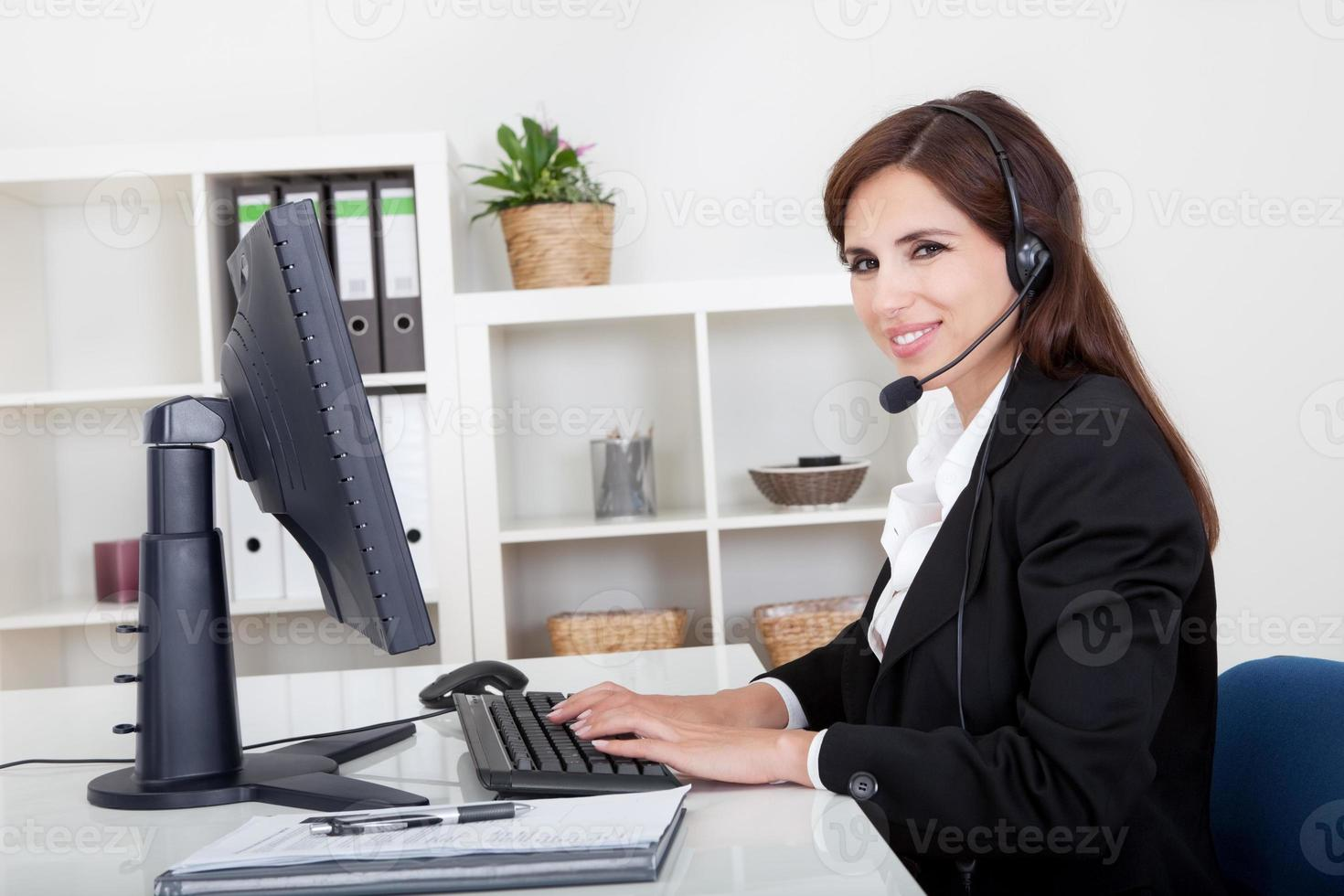 Young Smiling Support Phone Female Operator photo