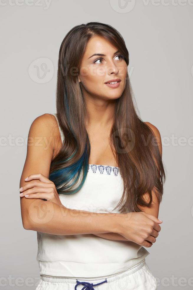 Thinking female looking at copy space photo