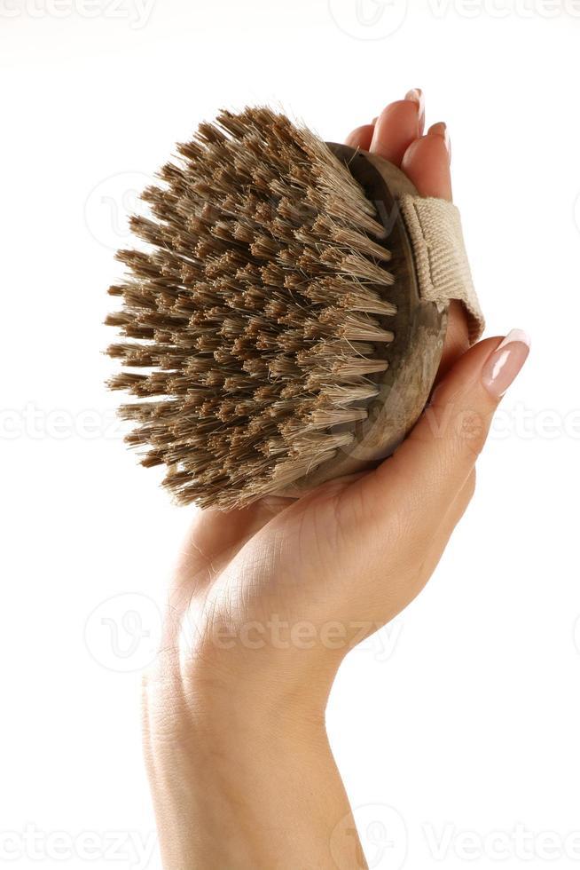 scrub brush in a beautiful female hand photo