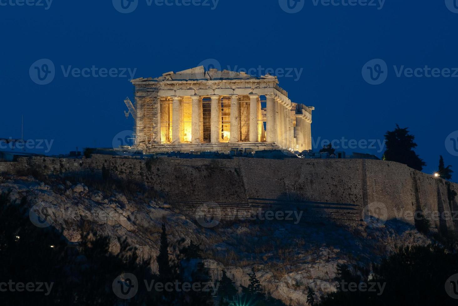 view of Acropolis and Parthenon by night photo
