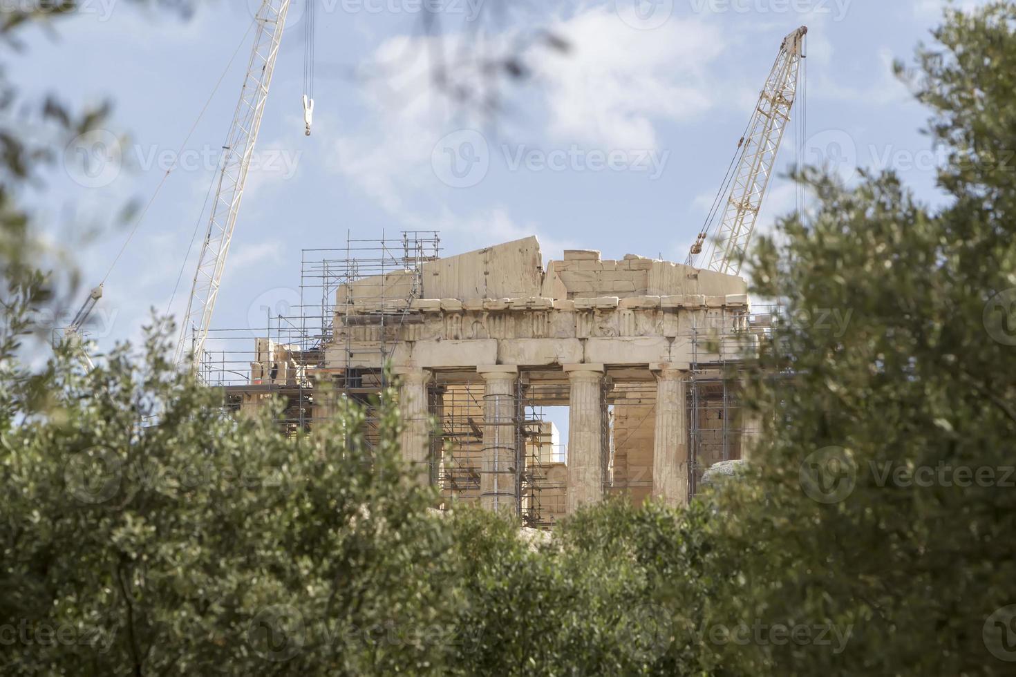 antiguo templo partenón en la acrópolis atenas grecia foto