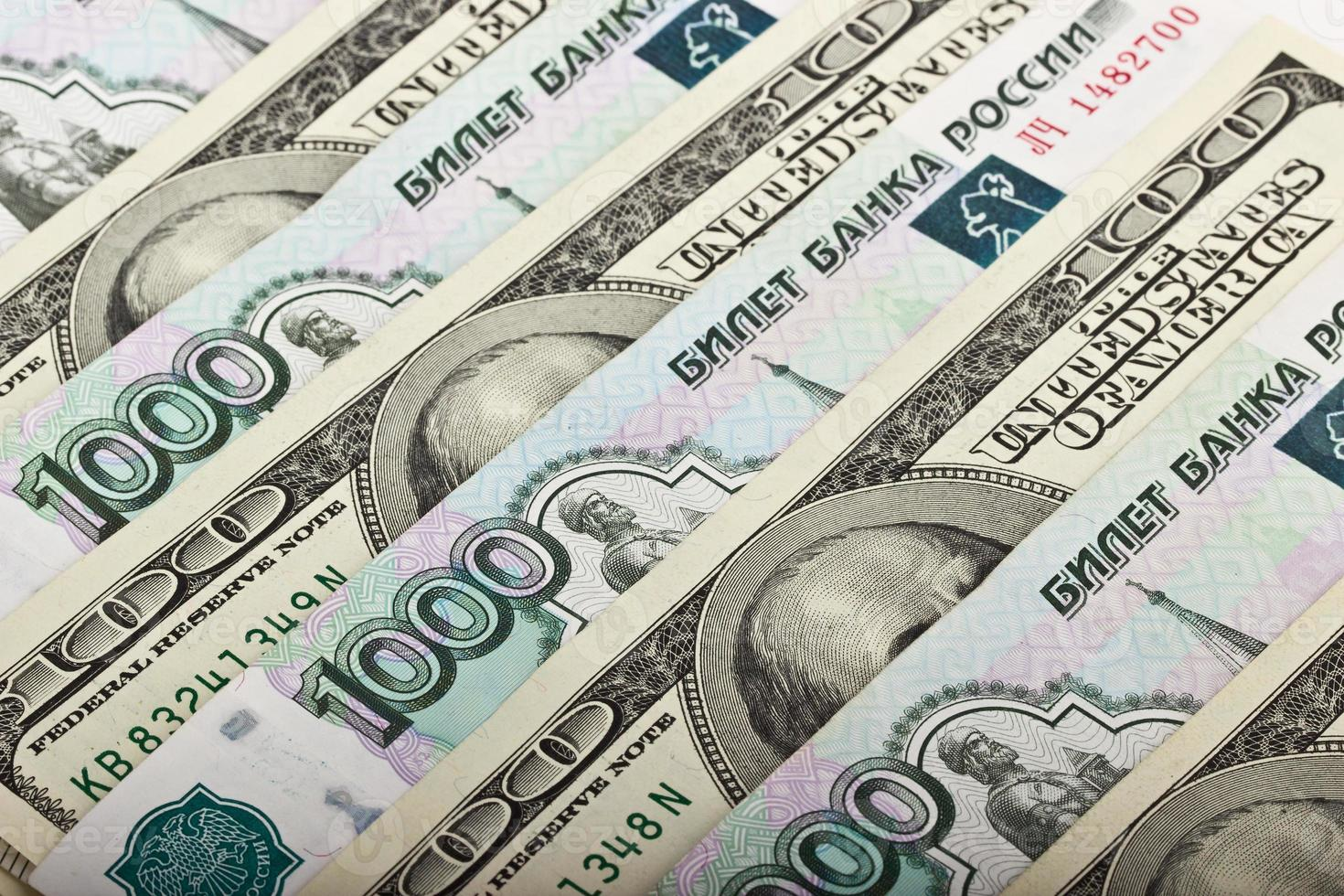 Russian rubles and US dollars photo