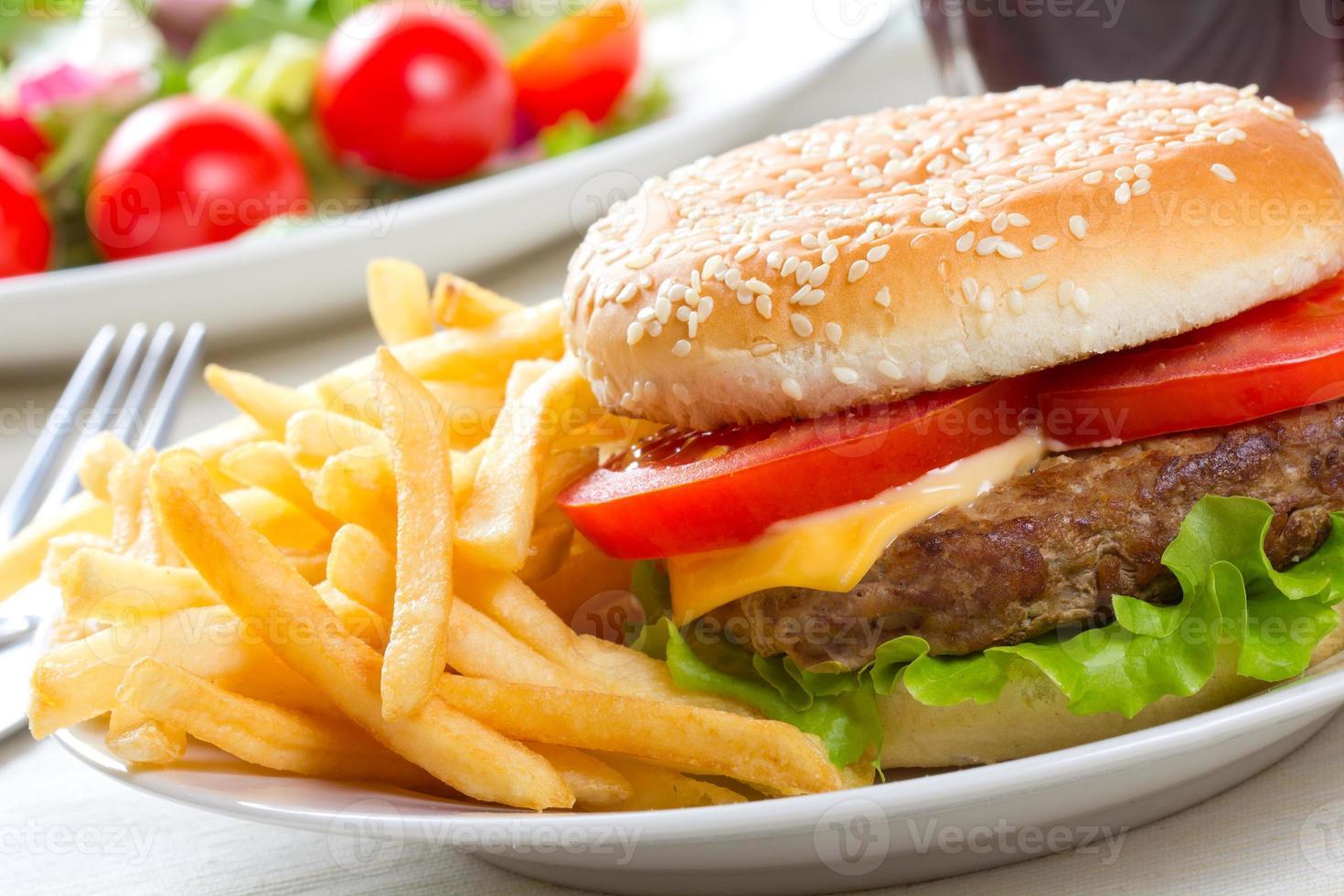 hamburger with fries photo