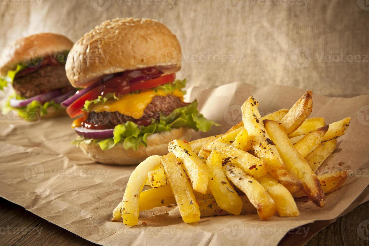 Freshly Hamburger with french fries photo