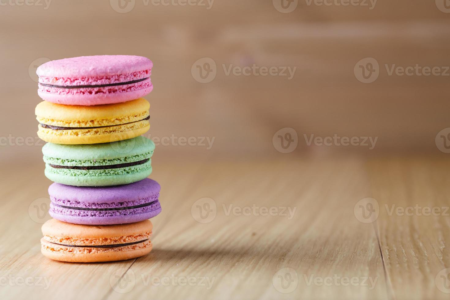Five colorful french macaron photo