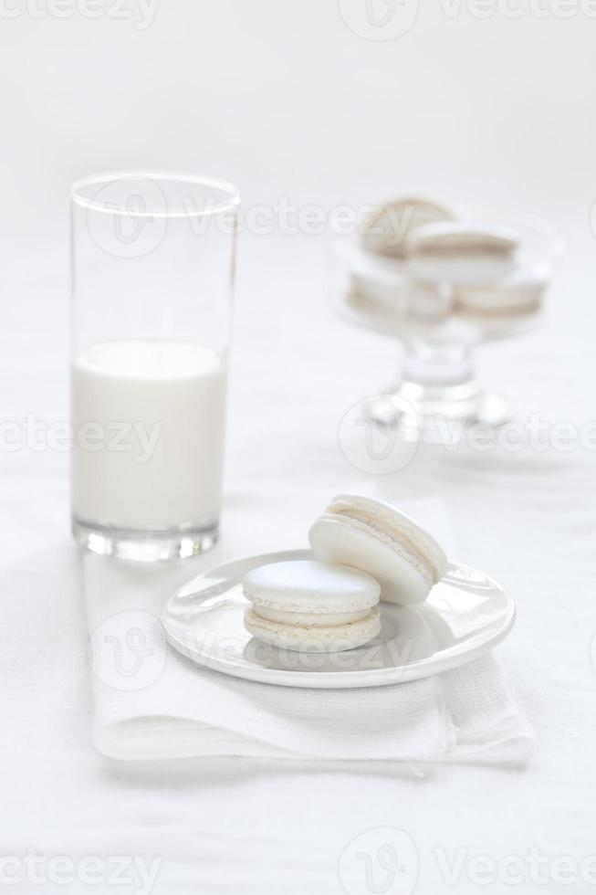 Macarons de vainilla sobre fondo blanco. foto