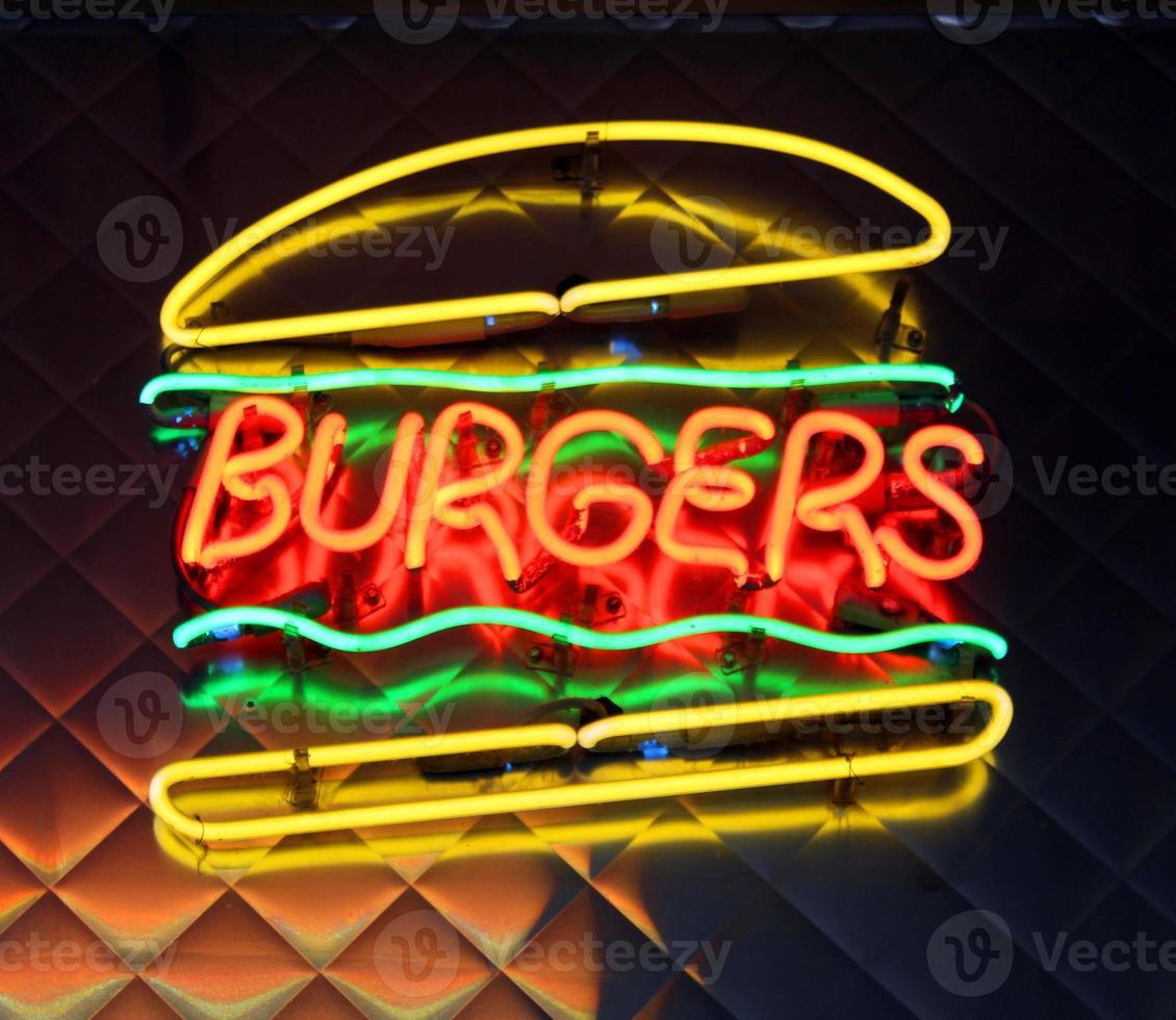 Burgers neon sign - Stock Image photo