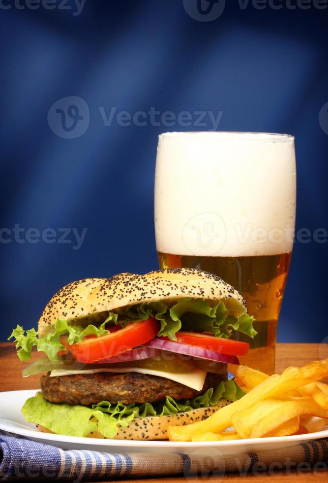 burger, french fries and beer photo