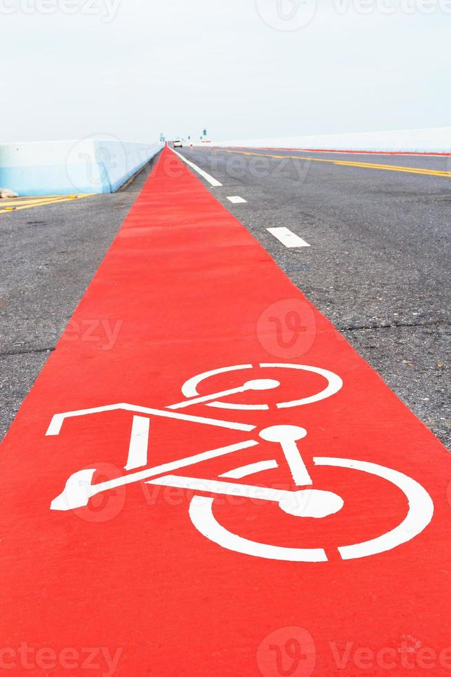 bicycle path on the road photo