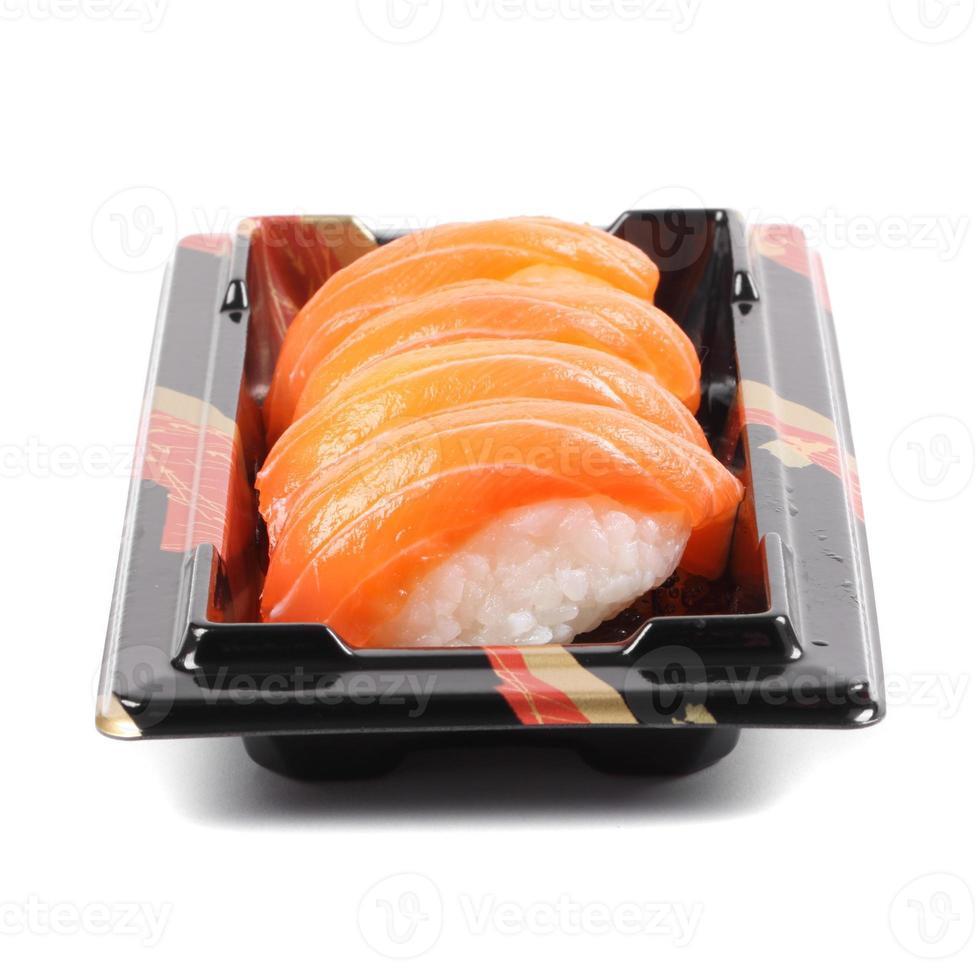Salmon sushi on a White background photo