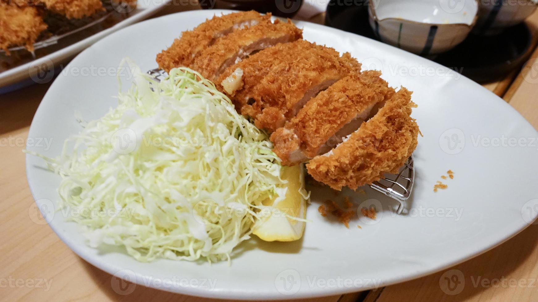 Tonkatsu with chopped cabbage photo