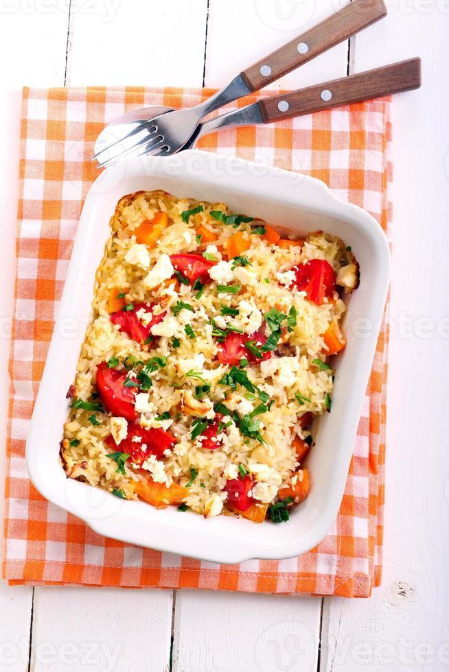 Pumpkin, tomato and fetta risotto photo