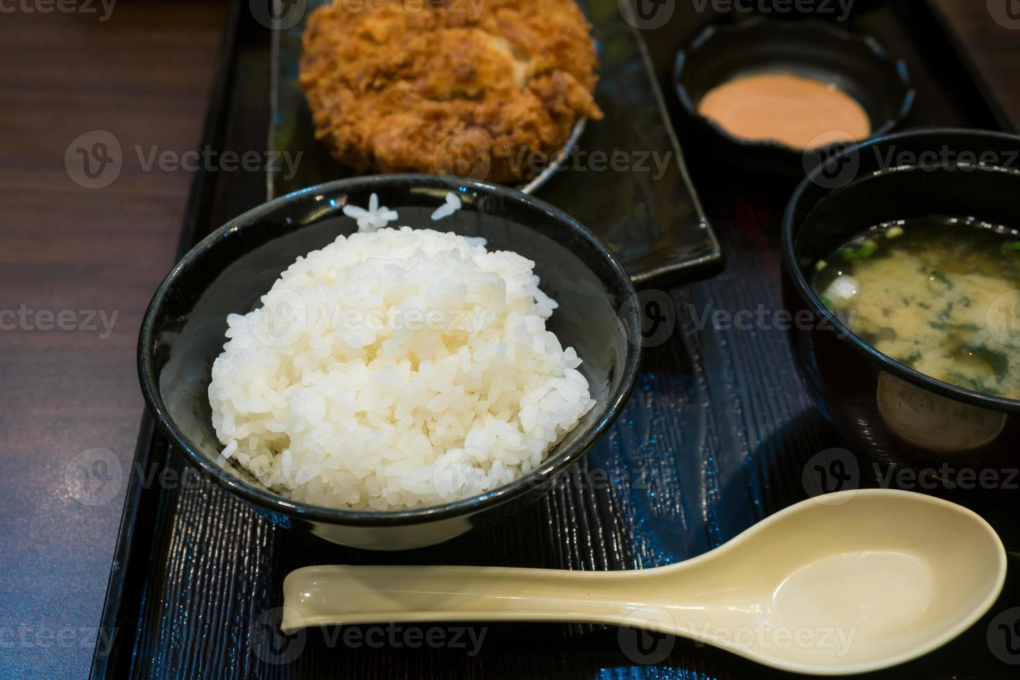 Fried pork and japanese rice in the bento set photo