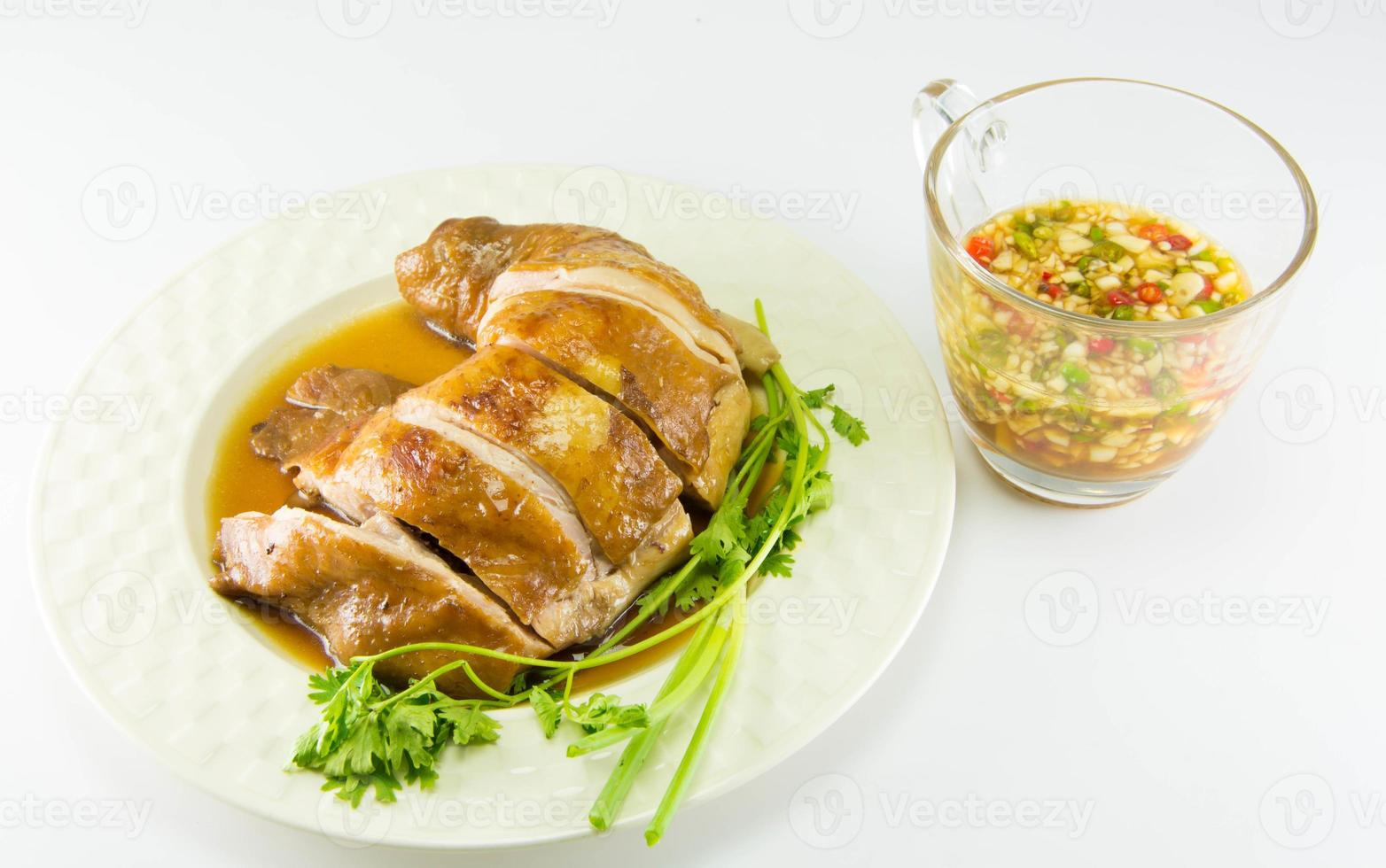 Boiled Chicken with Fish Sauce and spring onion photo