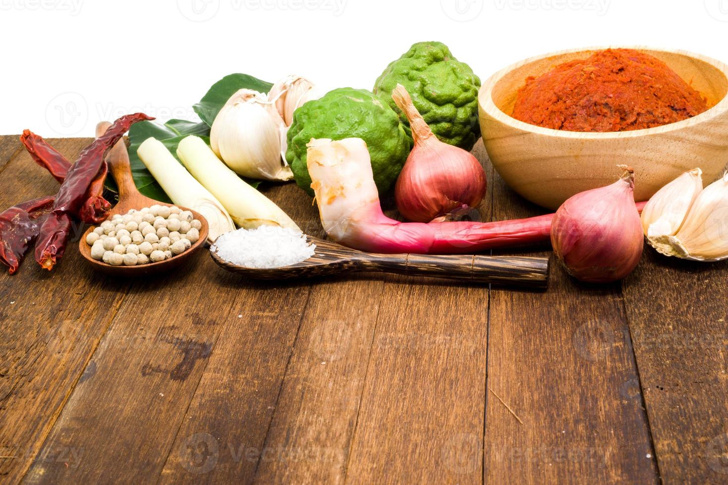 ingrediente de pasta de curry rojo tailandés foto