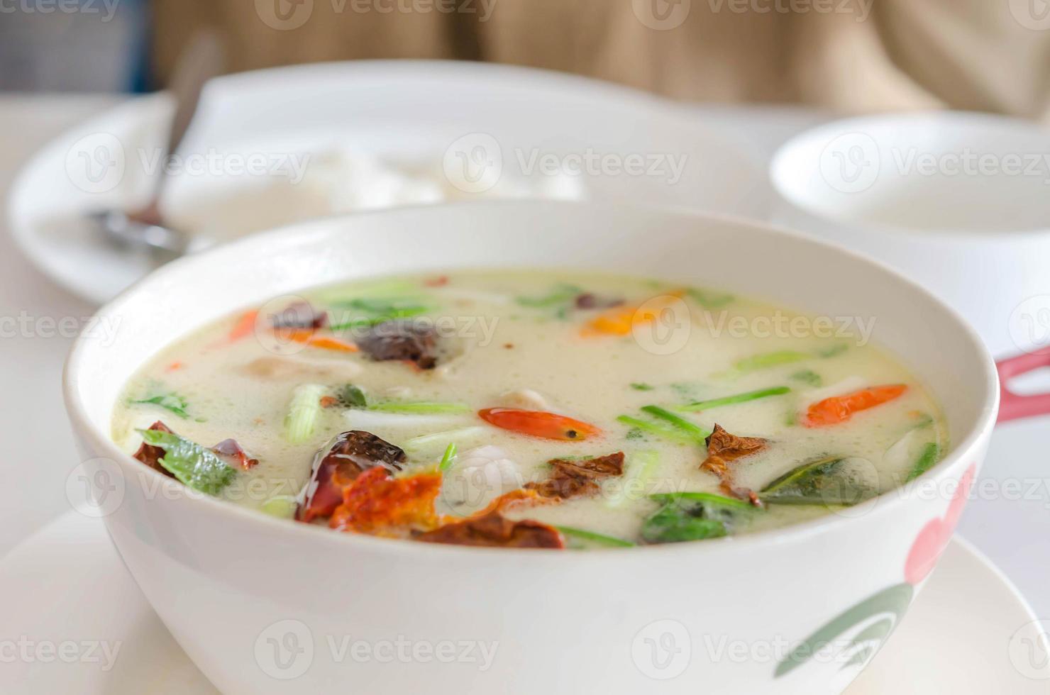 sopa de pollo tailandesa en leche de coco foto
