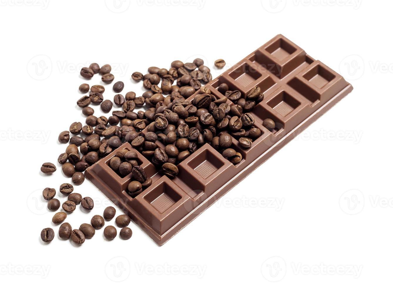Chocolate bar with coffee beans photo