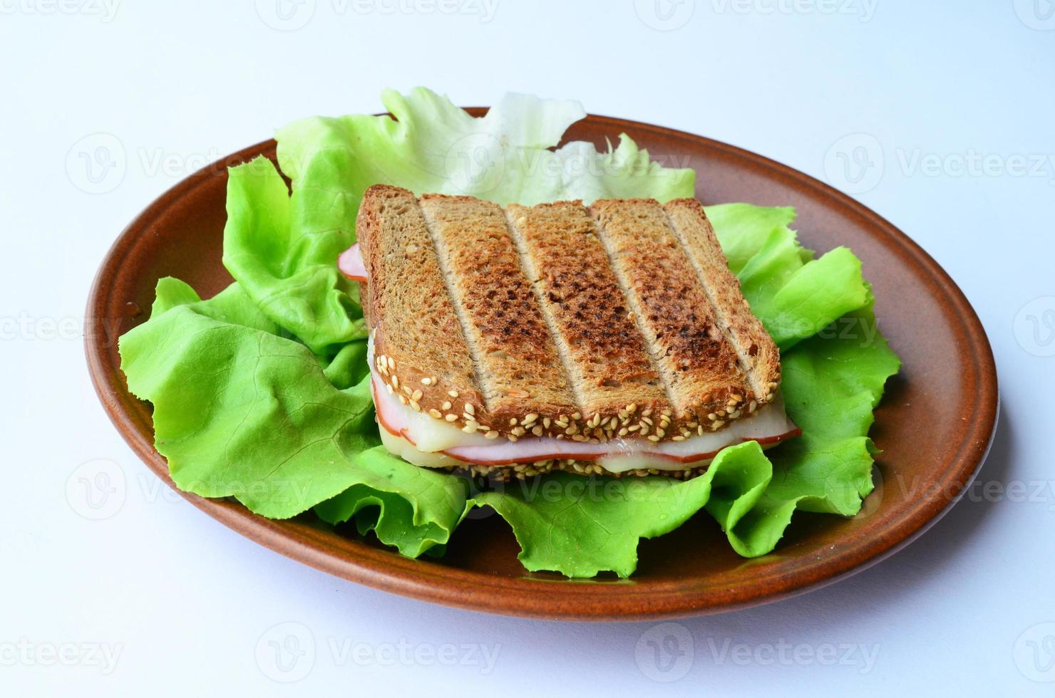 Integral toast, ham and cheese sandwich photo
