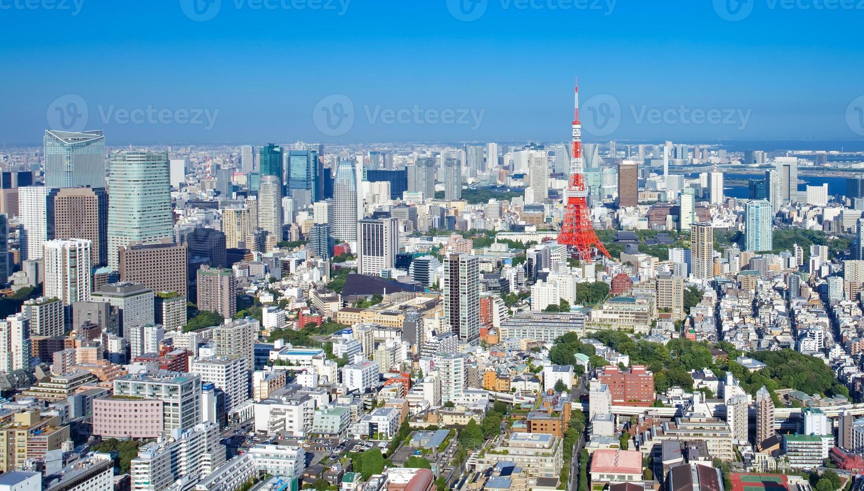 vista de la ciudad de tokio y tokio hito torre de tokio foto