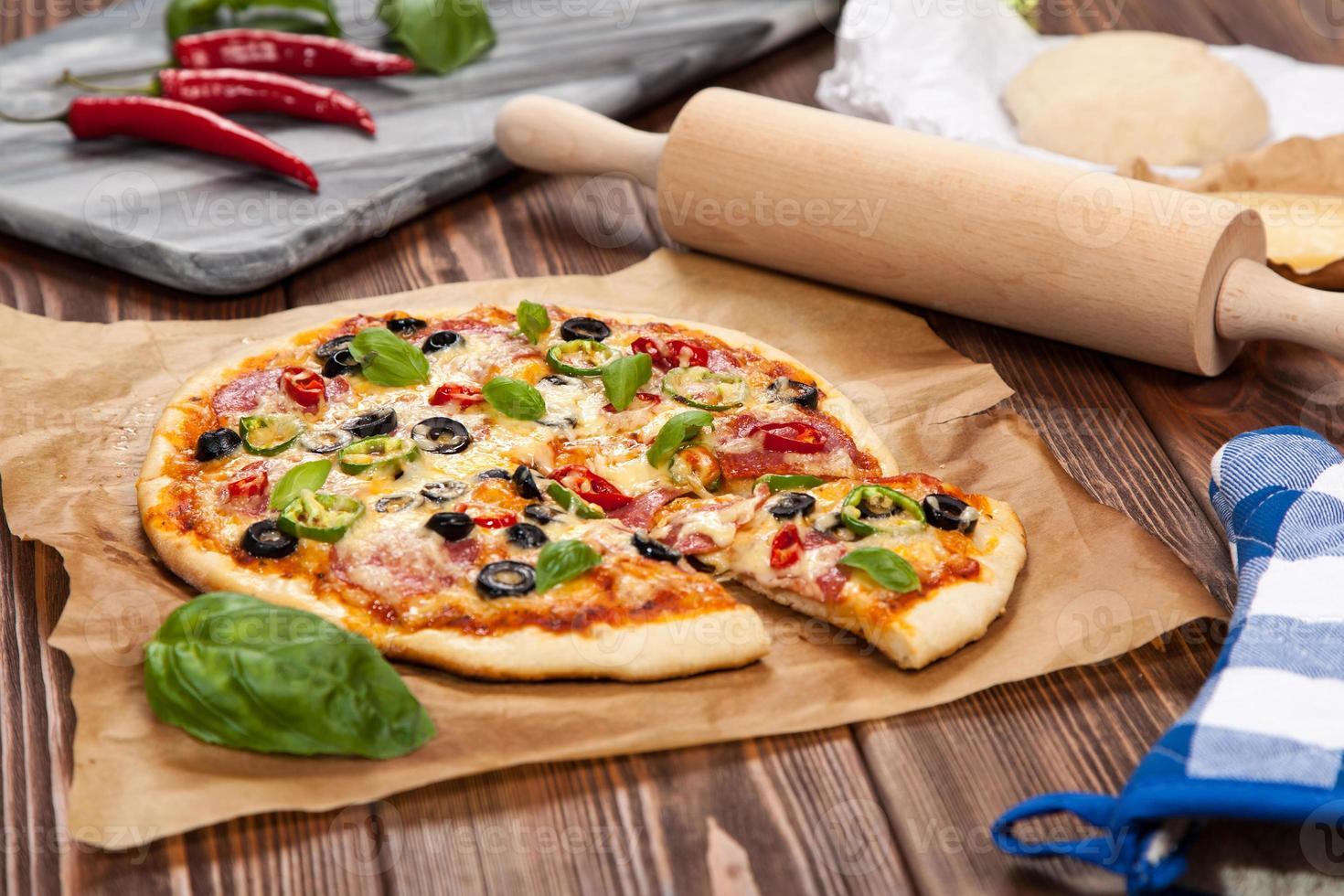 Delicious home made pizza photo