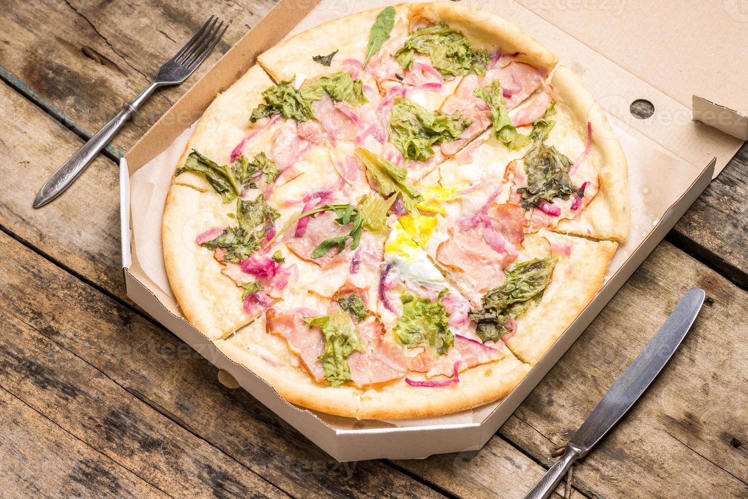 Pizza menu and recipe background photo