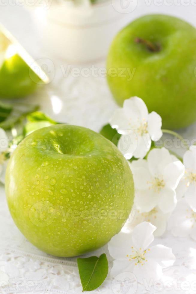 Apples and flowers photo