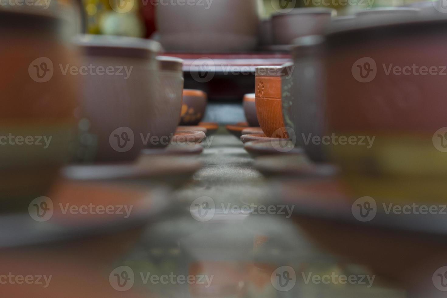 tazas de arcilla al horno foto