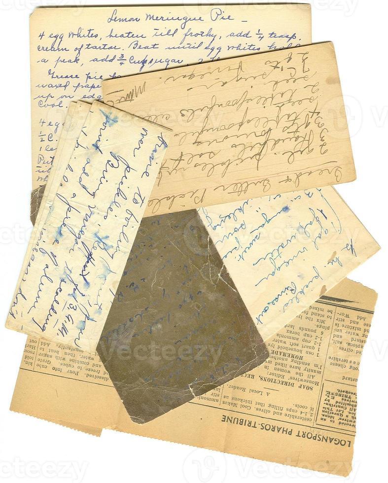 viejas recetas de papel foto