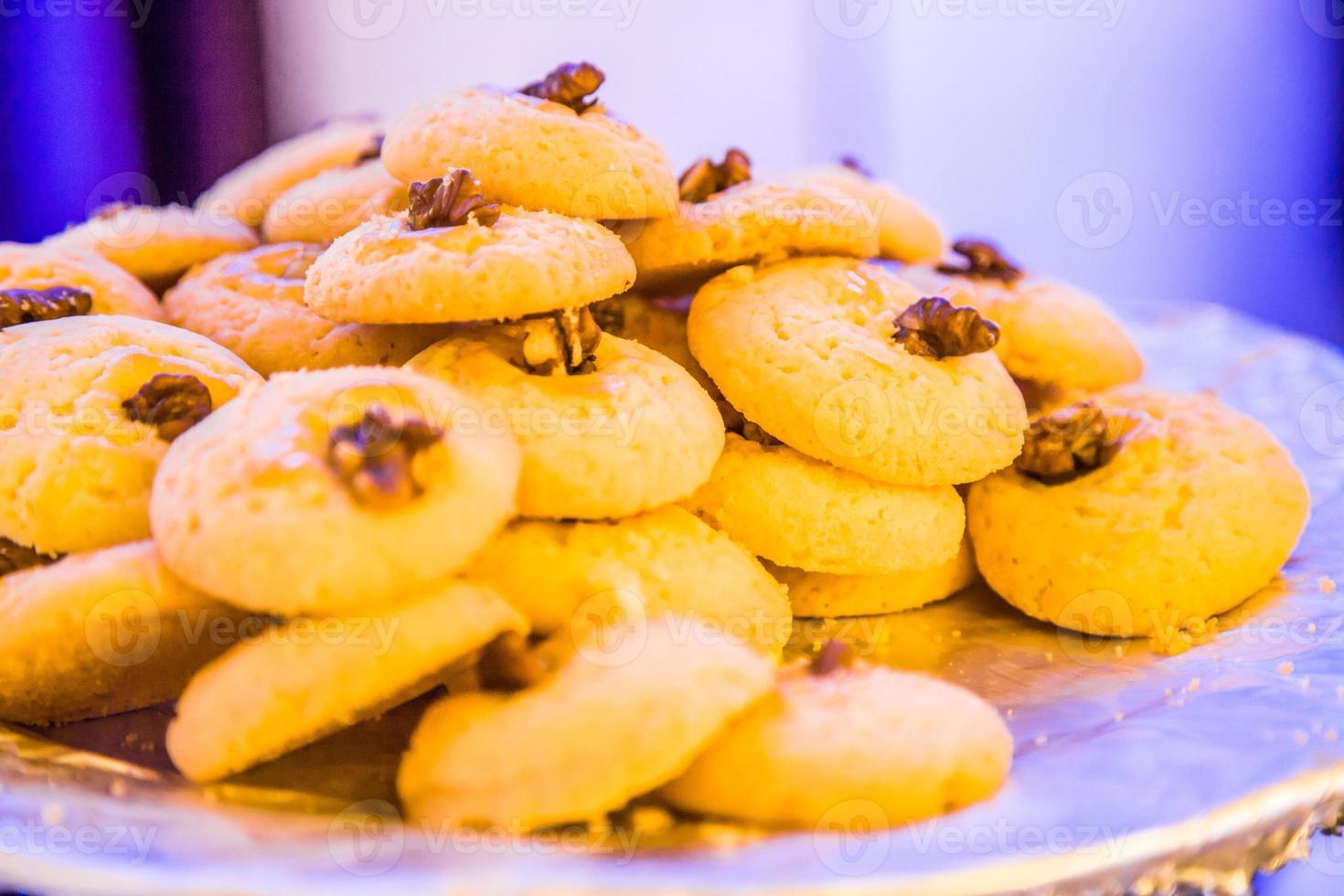 galletas de nuez, pila de galletas foto