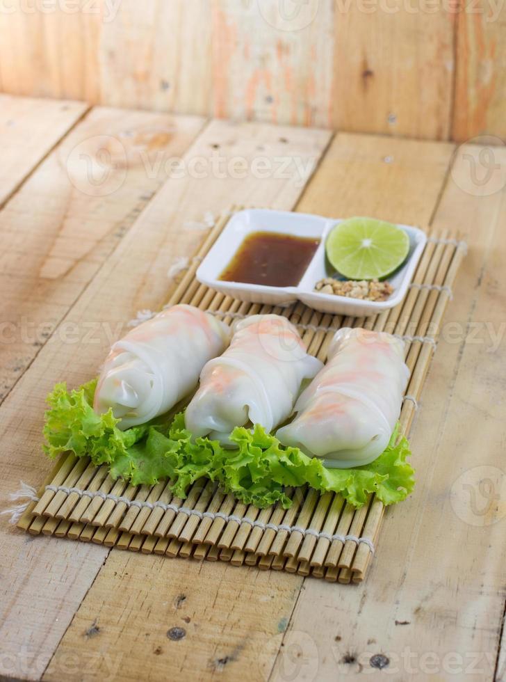 receta de rollos de fideos de arroz al vapor foto