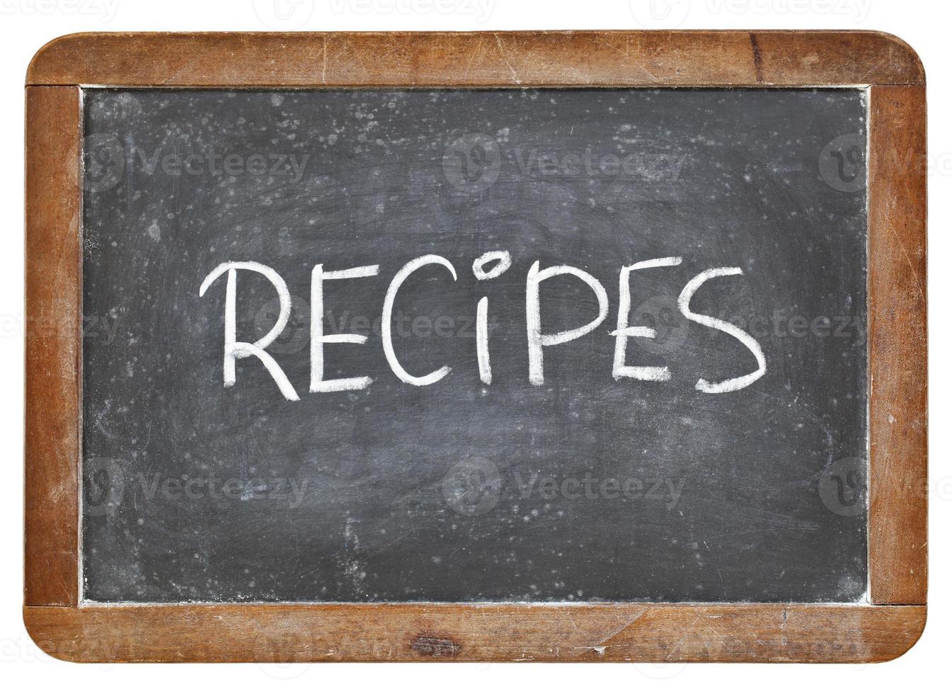 palabra de recetas en pizarra foto