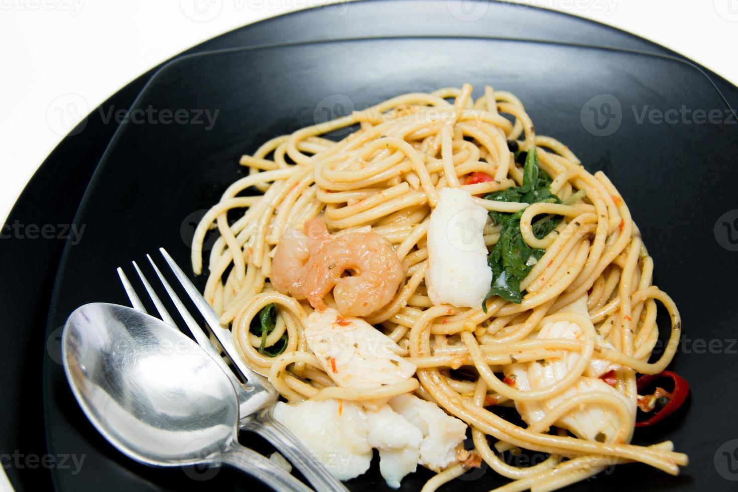 Italian recipe: spaghetti and seafood photo