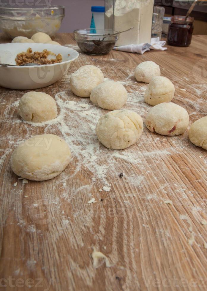 Recipe ingredients for dough photo