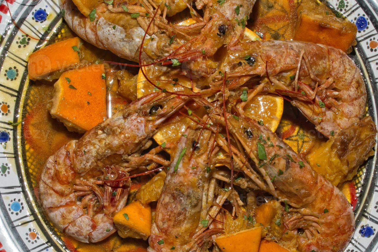 shrimps plate cooked in sicilian recipe photo