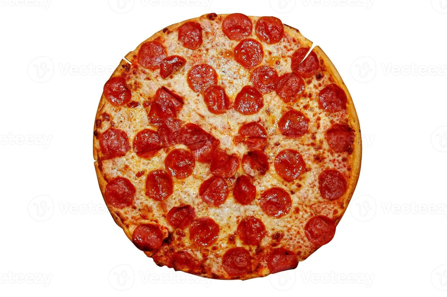 pizza de pepperoni entera foto
