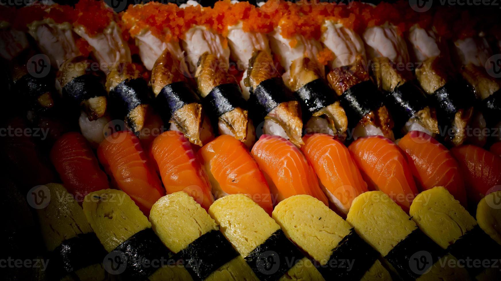 textura de fondo de colecciones de sushi foto