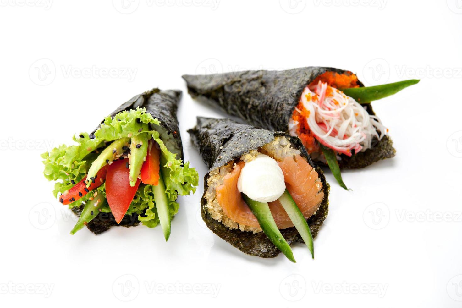 conjunto de sushi temaki foto