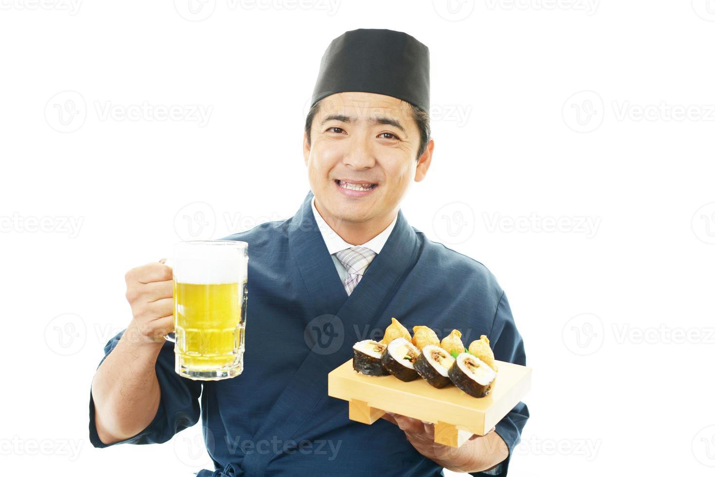 camarero japonés de trabajo foto