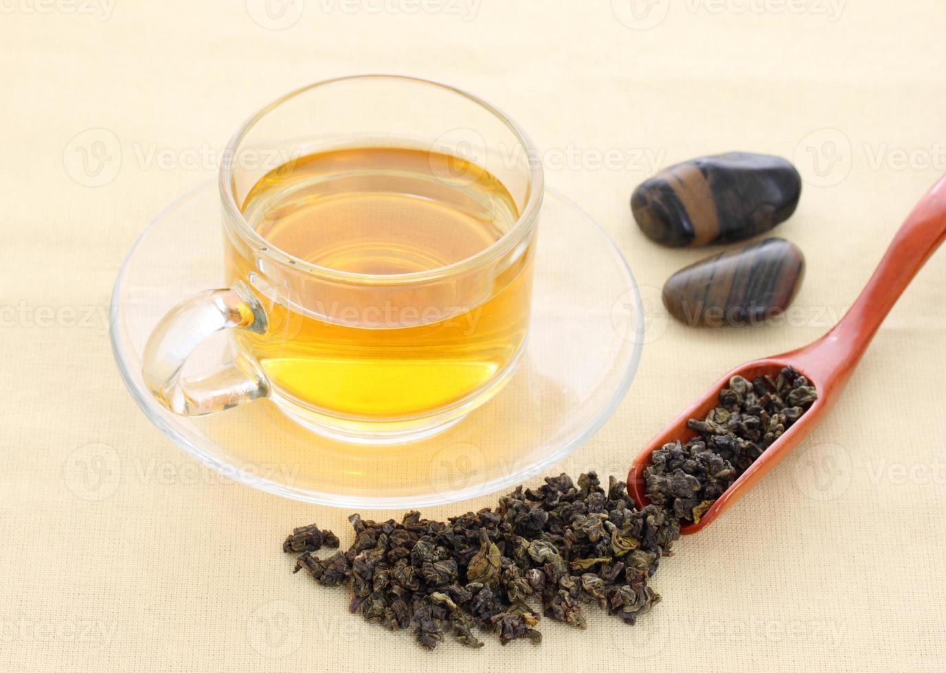 taza con té verde foto