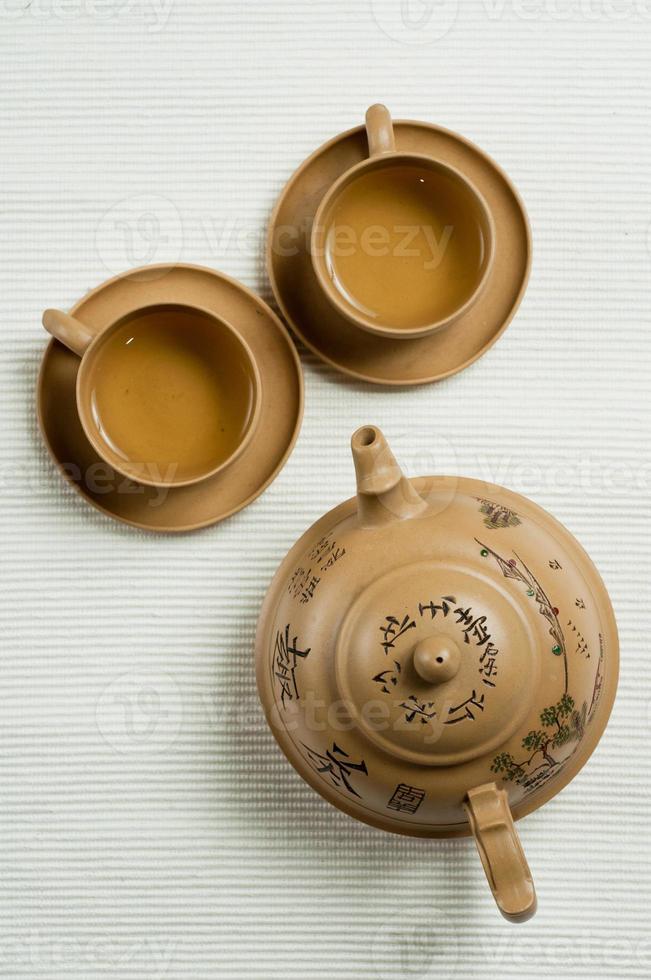 jogo de chá chinês de cerâmica foto