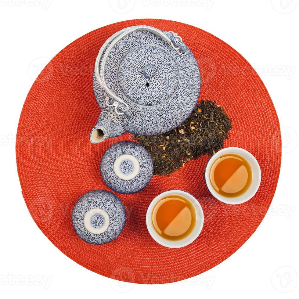 conjunto de té oriental saludable foto
