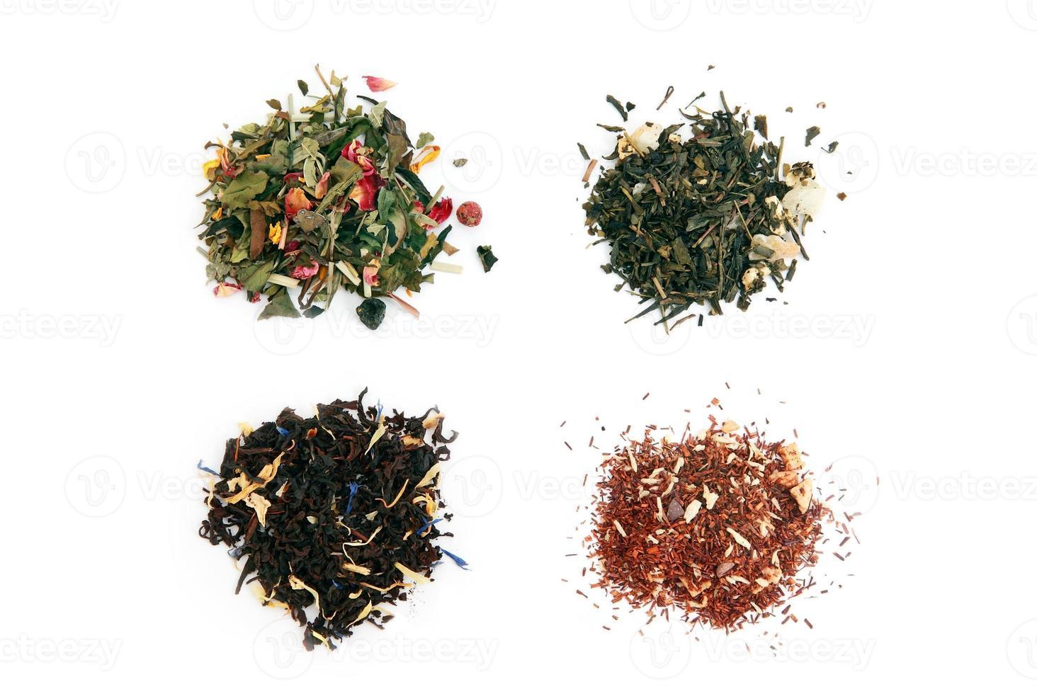 té blanco, verde, negro y rooibos foto