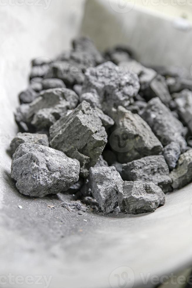 Grey pieces of coke on a shovel photo